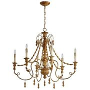 French Country Vintage Lyon Six Light Chandelier Umber Finish 06578 Cyan Design