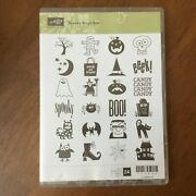Stampin Up Spooky Bingo Bits Halloween Haunted House Witch Cat Owl Rubber Stamp