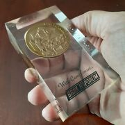 Bronze Engraved Rare Coin Bank Of Israel Tel Aviv Compliment Honor Medal In Glas