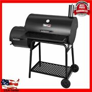 Charcoal Grill With Offset Smoker, 800 Square Inches, Black, Backyard Cooking