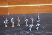 Vintage Lot Of 8 Mark Lead Toy Soldiers Confederate And Union