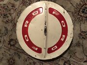 Vintage Ford Dog Dish Hubcaps White/red Set Of 2