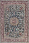 Semi-antique Floral Oriental Kirman Area Rug Hand-knotted Wool Carpet 9x12 Ft