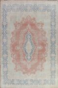 Antique Muted Floral Kirman Area Rug Distressed Handmade Evenly Low Pile 10and039x13and039