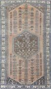 Antique Muted Abadeh Geometric Oriental Area Rug Wool Hand-knotted 6and039x10and039 Carpet