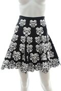 Alaandiumla Orchid Knit Flared Skirt - Runway Collection / Black / White / Rrp Andpound1280
