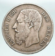 1870 Belgium With King Leopold Ii And Lion Genuine Silver 5 Francs Coin I90894
