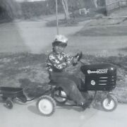 Vintage Black And White Photo Little Boy Riding Murray Trac Pedal Tractor Wagon