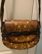 Vintage 70s Leather Purse Hand Tooled Stamped Painted Flowers Hippie Saddle Bag