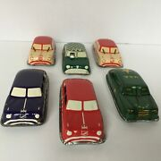 Lot Of 5 Vintage Argo Tin Cars From Mid-50and039s Taxi Sedans Revised