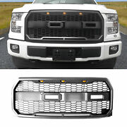 Fit 15-17 Ford F-150 Grille Front Bumper New Raptor Style Grill Black W/led