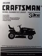 Sears Craftsman 15.0 Hp 42 Hydro Lawn Tractor 917.252531 Owner And Parts Manual
