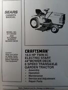 Sears Craftsman 18.0hp 44 6sp Lawn Garden Tractor Owner Andparts Manual 917.254450