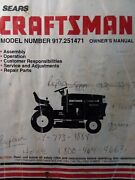 Sears Craftsman 20.0hp 44 6sp Lawn Garden Tractor Owner Andparts Manual 917.251471