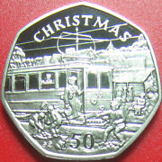 Isle Of Man 1989 Bb 50 Pence Proof Christmas Trolley Car Cat Rare No Silver