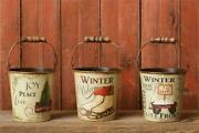 """Primitive/farmhouse 3 Pc Tin Winter Welcome Bucket W/handle 5"""" Crafts Free Ship"""