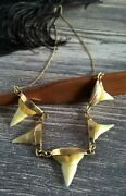 Vintage Gold 18k Necklace With Shark's Teeth Pendants