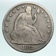 1872 P United States Eagle Seated Liberty Antique Silver Half Dollar Coin I90884