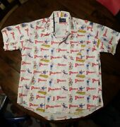 Deadstock Vtg 70s Menand039s Pbr Pabst Blue Ribbon Cool Blue Beer Button Shirt Xl