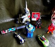 Schylling Tin Toy Lot. Wind-up Friction Wood. Robots Race Cars Misc.