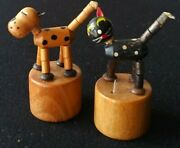 Wood Push Puppet Fomlet Italy. Collapsible Painted Dog, Cat Toy Lot.