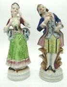 Occupied Japan Porcelain Bisque Victorian Couple Figurines 9 1/4 H - As Is