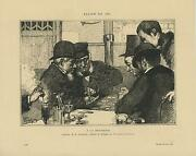Antique Men Victorian Card Game Deck Ace Of Clubs Brewery Beer Rare Old Print