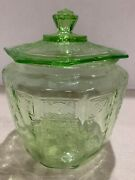 Vintage Green Princess Cookie Jar And Cover Anchor Hocking Depression Glass