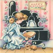 Vintage Girl Cat Pie Tea Kettle Stove S And P Kitchen Embossed Bday Greeting Card