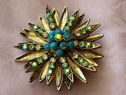 Gold Starburst Brooch 1920s Costume Jewelry Turquoise Blue Glass Stone Pin 2andrdquo