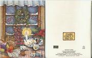1 Vintage Christmas Kitchen Gingerbread Cookies Tea Cup Pot Candle Fruit Card