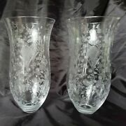 Antique 1800and039s Pair Etched Hand Blown Glass Hurricane Candle Lamp Chimney Shades