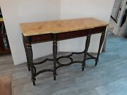 Chinoiserie Antique Style Server Buffet Sideboard Faux Marble Top