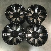 Used 20x12 D8 Fit Lifted Chevy 8x165.18x6.5 -44 Black Machined Face Wheels Set