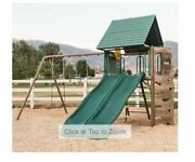 Outdoor Playset Lookout Double Slide Swing Set Playground Equipment Roof Green
