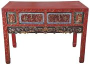 Antique Chinese Carved Red Altar Entry Console Chinoiserie Sideboard Table 42