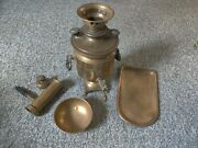 Antique 19th Century Russian Brass Samovar Set With Tray And Bowl Самовар