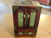 Vintage Chinese Rose Wood Jewelry Box With Carved Jade And Brass With Lock + Key