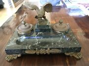 Vintage Heavy Cast Brass, Marble Desk Top Footed Double Inkwell Pen Tray, Eagle