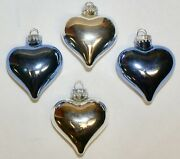Lot Of 4 Heart Shaped Christmas Ornaments 2 Blue And 2 Silver 3 Shiny Glass