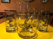 Vtg Ned Smith Duck Bar Set 4 High Ball Glasses, 9 Pitcher And 5 Ice Bucket