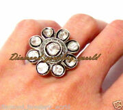 1.88cts Genuine Old Mine Rose Antique Cut Diamond Silver Victorian Ring Jewelry