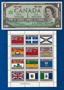 1967 Canada 1 One Dollar Bill Note + Vintage Canadian Flag Stamps