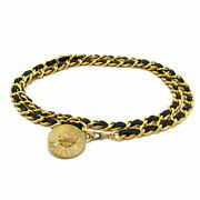 Previously Owned Belt Chain Belt Lion Gold Black Metal Material No.8090
