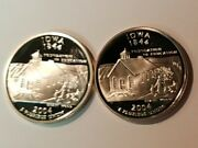 2004 S Iowa Silver And Clad Proof Statehood Quarters From U.s. Proof Sets