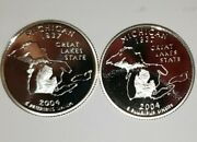 2004 S Michigan Silver And Clad Proof Statehood Quarters From U.s. Proof Sets