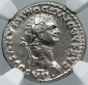 Domitian Authentic Ancient 93ad Rome Antique Silver Roman Coin Goat Ngc I88704