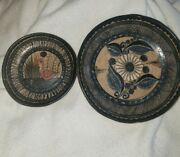 Two..vintage Signed Jimon Mexico Mexican Pottery Small Dishes Folk Art