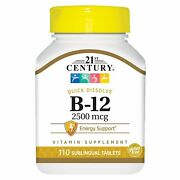 21st Century B-12 2500 Mcg Sublingual Tablets, 110 Count Pack Of 12