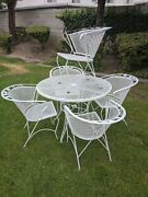 Mid Century Modern Wrought Iron Patio Chair Table Very Rare Easy Storage